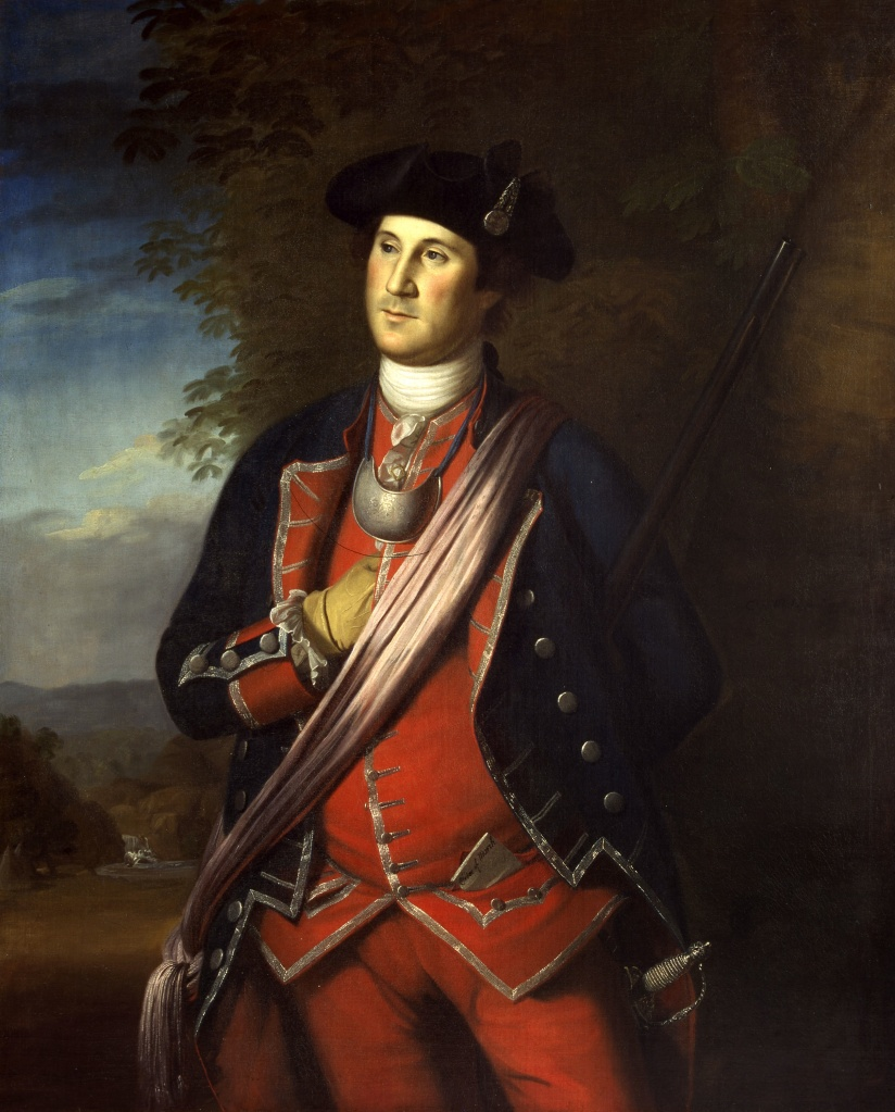 Old George looking dashing during the French and Indian War in a portrait by Charles Wilson Peale. He's reaching into his jacket for a hoe cake (or maybe some of Martha's Whiskey Cake).