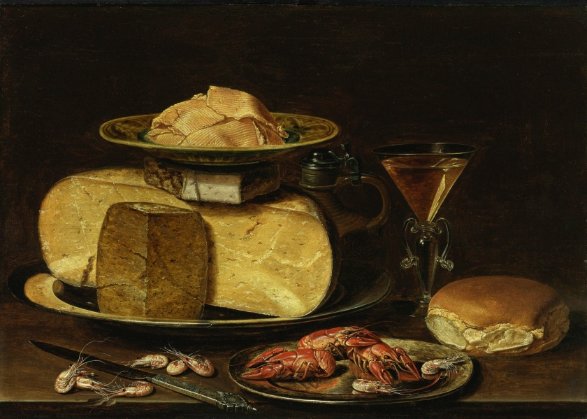 clara_peeters_-_cheesestack_with_knife_shrimp_crawfish_glass_of_wine_and_bread